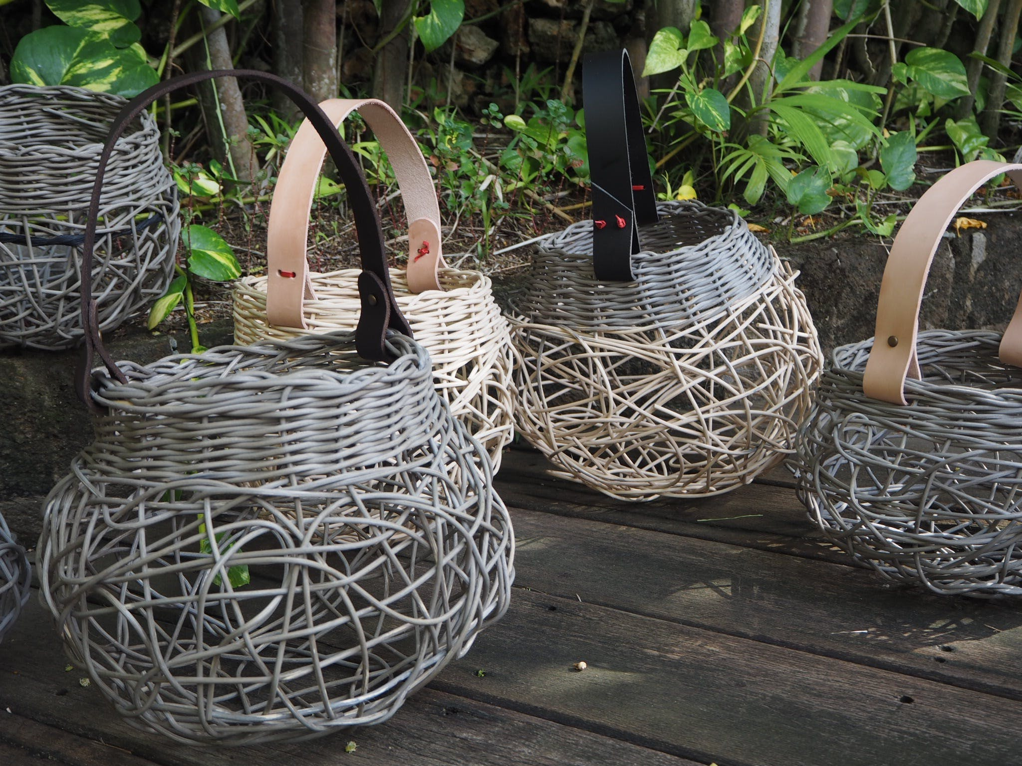 Weaving Woven Basket with Leather Handle - WA Accommodation